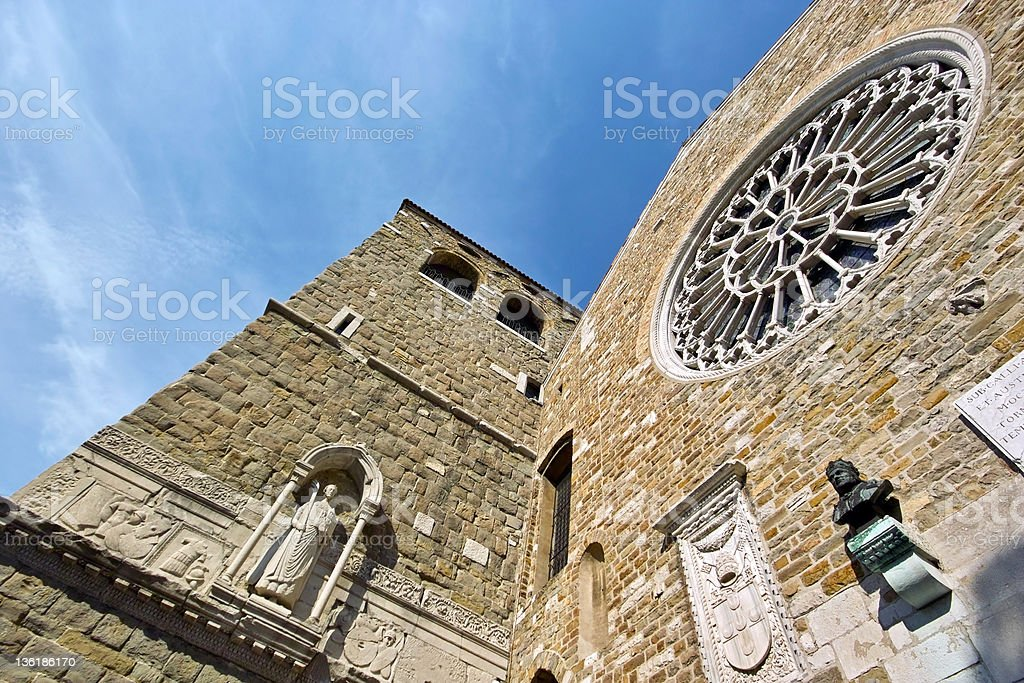 Cathedral of San Giusto: facade, Trieste. 2011 royalty-free stock photo