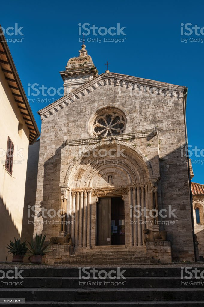SAN QUIRICO D'ORCIA, ITALY - OCTOBER 30, 2016:Cathedral of San Quirico D'Orcia in Tuscany, Italy stock photo