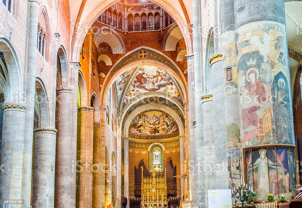 Cathedral of Santa Maria Assunta e Santa Giustina in Piacenza. Italy. stock photo