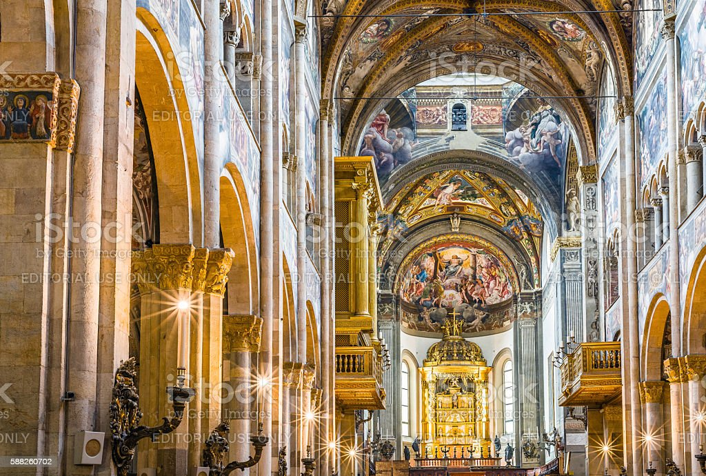 Cathedral of Santa Maria Assunta of Parma, in Emilia-Romagna. Italy. stock photo