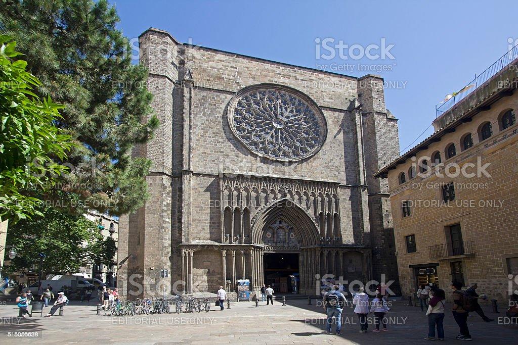 Cathedral of Santa Maria del Pi in Barcelona stock photo