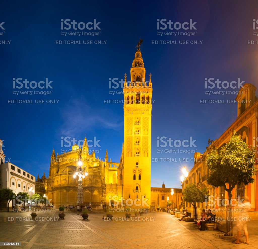 Cathedral of Seville at twilight, Spain stock photo