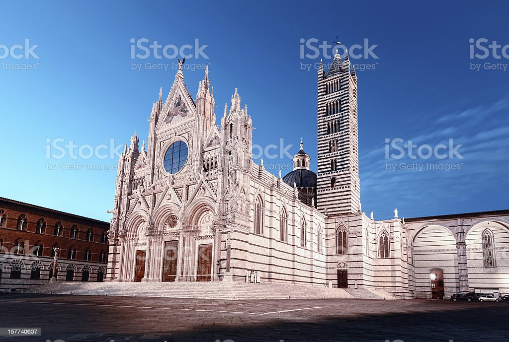 Cathedral of Siena at dusk stock photo