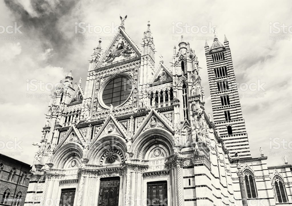 Cathedral of Siena, Italy, colorless stock photo