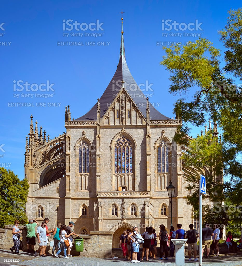 Cathedral of St. Barbara in Kutna Hora stock photo