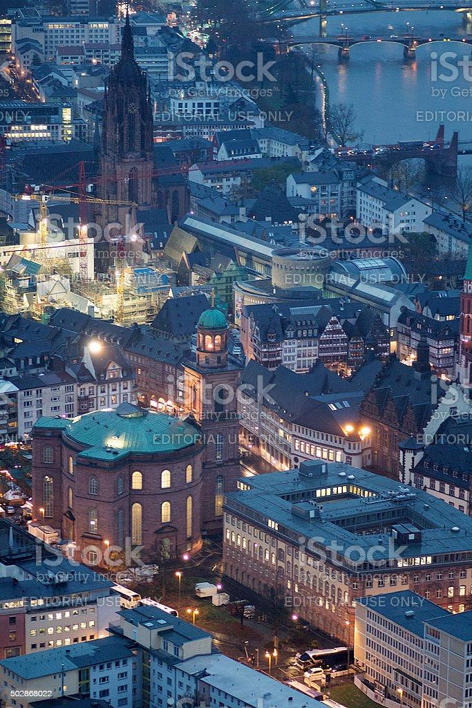 Cathedral of St. Bartholomew and Frankfurt at Night stock photo