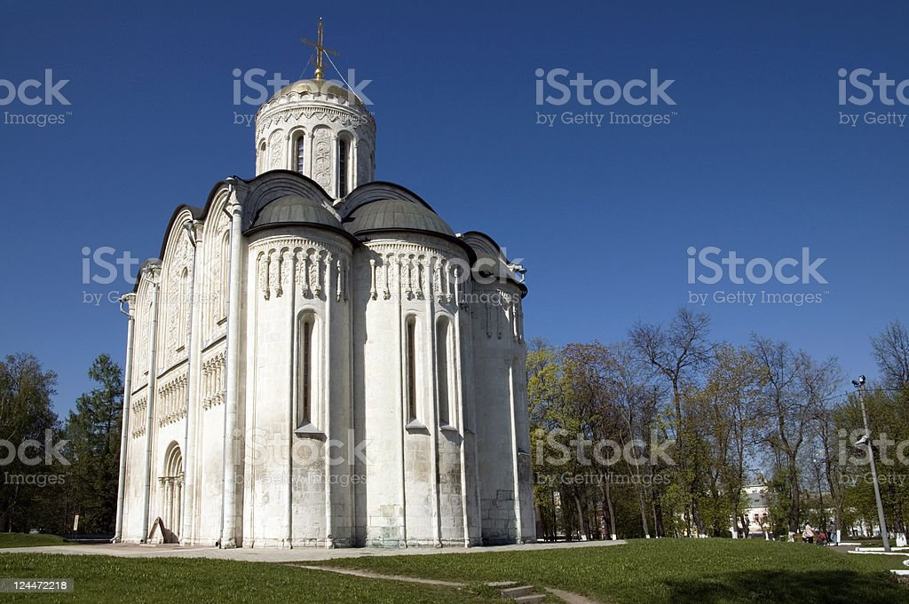 Cathedral of St. Demetrios Vladimir Golden Ring Russia stock photo