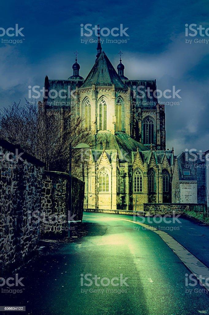 Cathedral of St. Hubert in Belgium stock photo