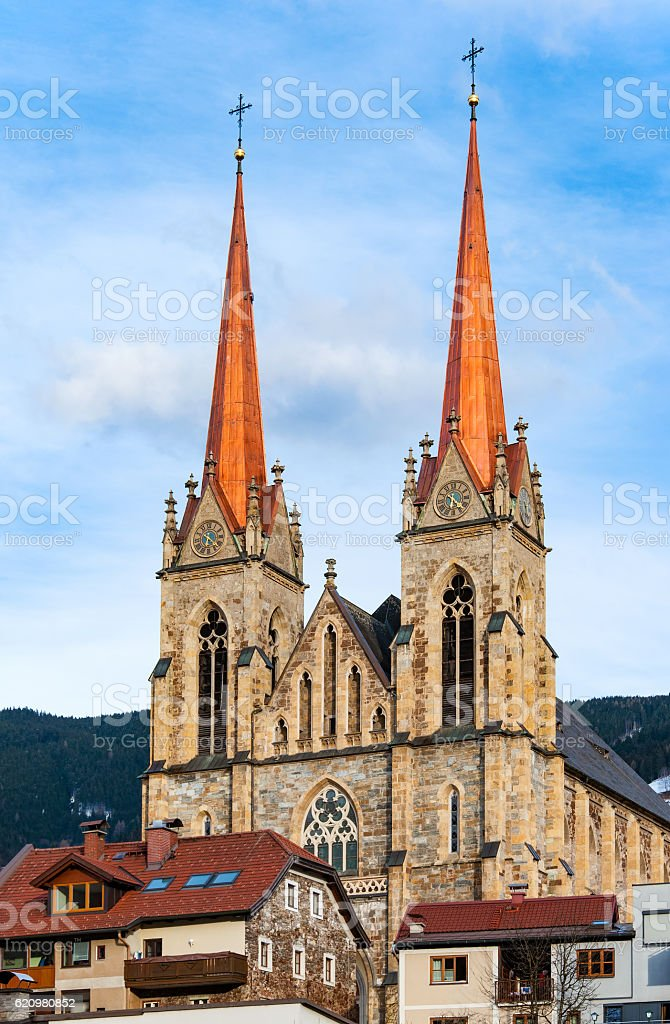 Cathedral of St Johann im Pongau, Austria stock photo