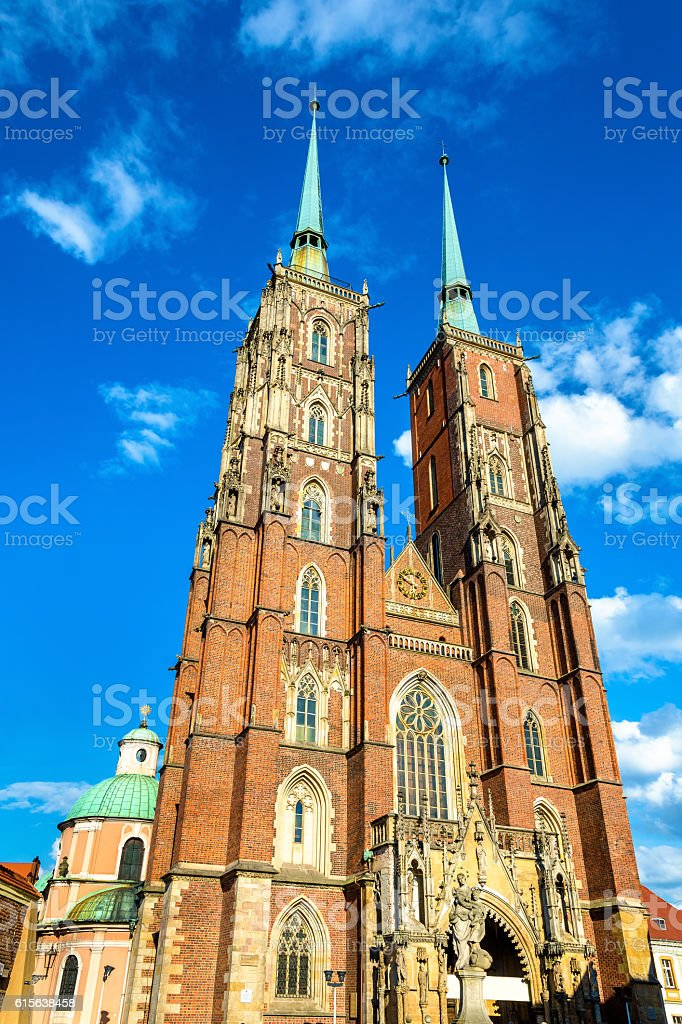 Cathedral of St. John the Baptist in Wroclaw, Poland stock photo