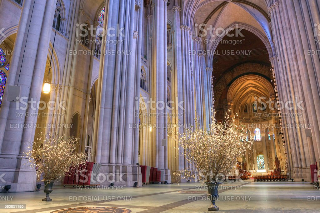 Interior of the Cathedral of St. John the Divine stock photo