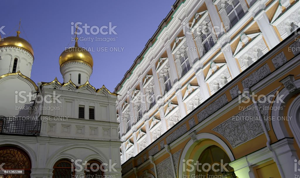 Cathedral of the Annunciation (Blagoveschensky sobor) at night. Cathedral Square, Inside of Moscow Kremlin, Russia. UNESCO World Heritage Site stock photo