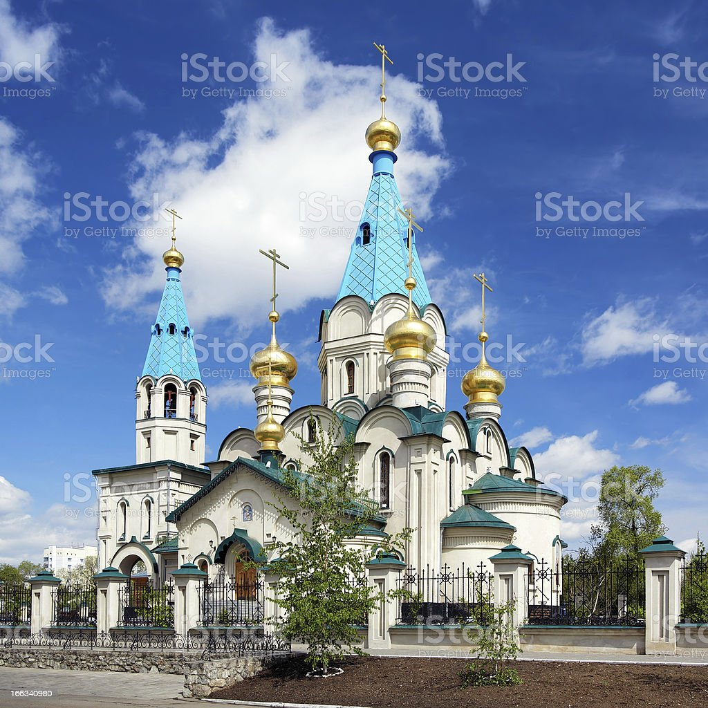 Cathedral of the Annunciation in Blagoveshchensk, Russia stock photo
