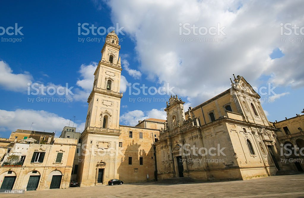 Cathedral of the Assumption of the Virgin Mary in Lecce stock photo