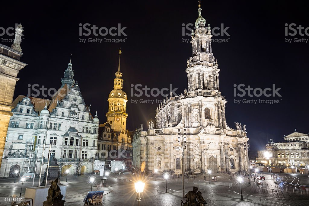 Cathedral of the Holy Trinity (Katholische Hofkirche) in Dresden stock photo