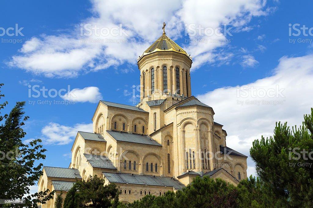 Cathedral of the Holy Trinity Tsminda Sameba stock photo