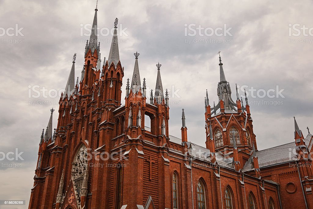 Cathedral of the Immaculate Conception of the Blessed Virgin Mary (Moscow) stock photo
