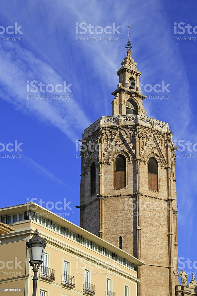 Cathedral of Valencia in Plaza de la Reina, Spain. stock photo