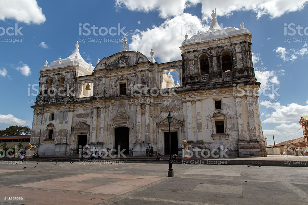 Cathedral on the central square of Leon, Nicaragua stock photo