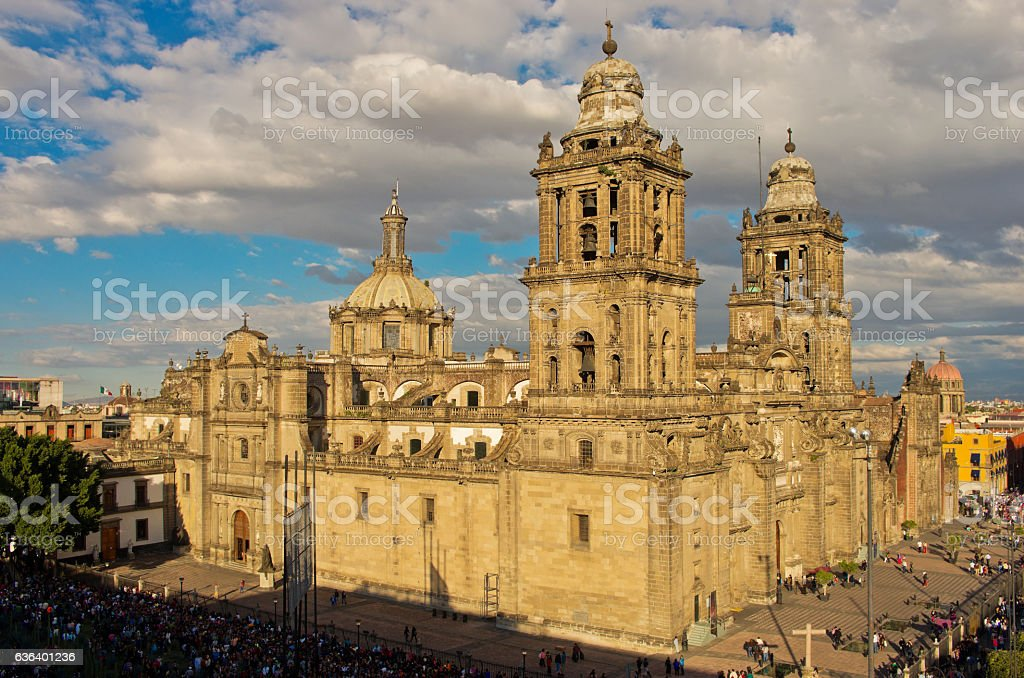Cathedral on Zocalo, top view, Mexico City stock photo