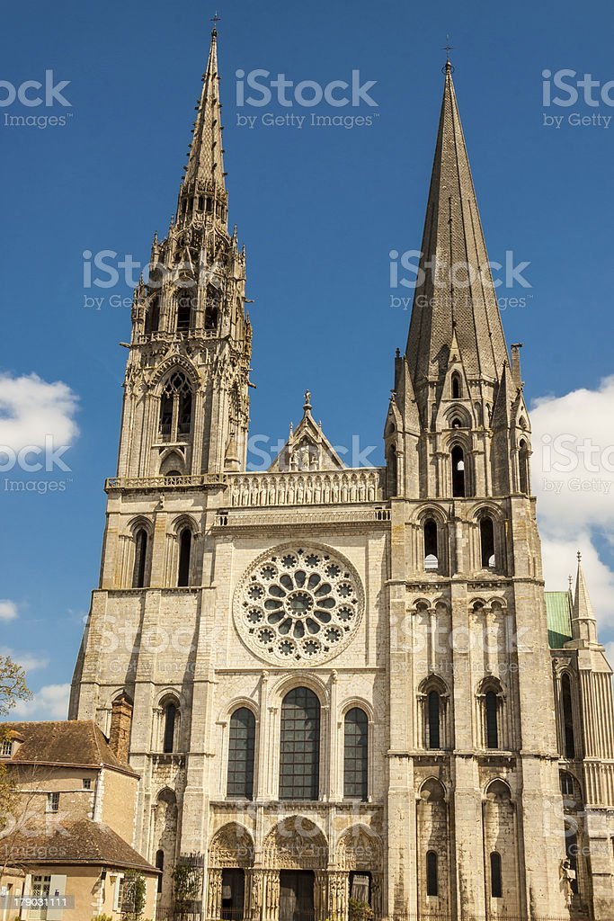 Cathedral - Our Lady of Chartres (Cathédrale Notre Dame) stock photo