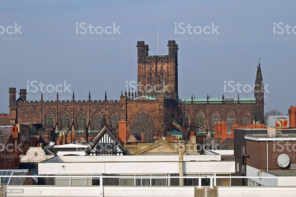 Cathedral Over The Rooftops royalty-free stock photo
