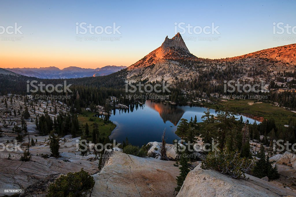 Cathedral Peak and Upper Lake stock photo