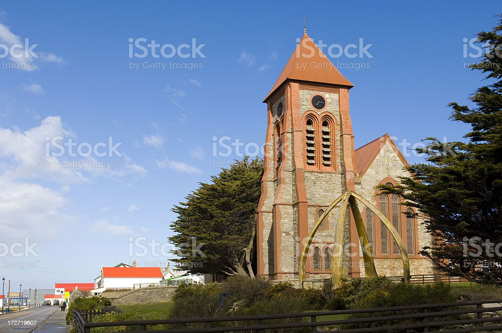 Cathedral, Port Stanley, Falkland Islands. stock photo