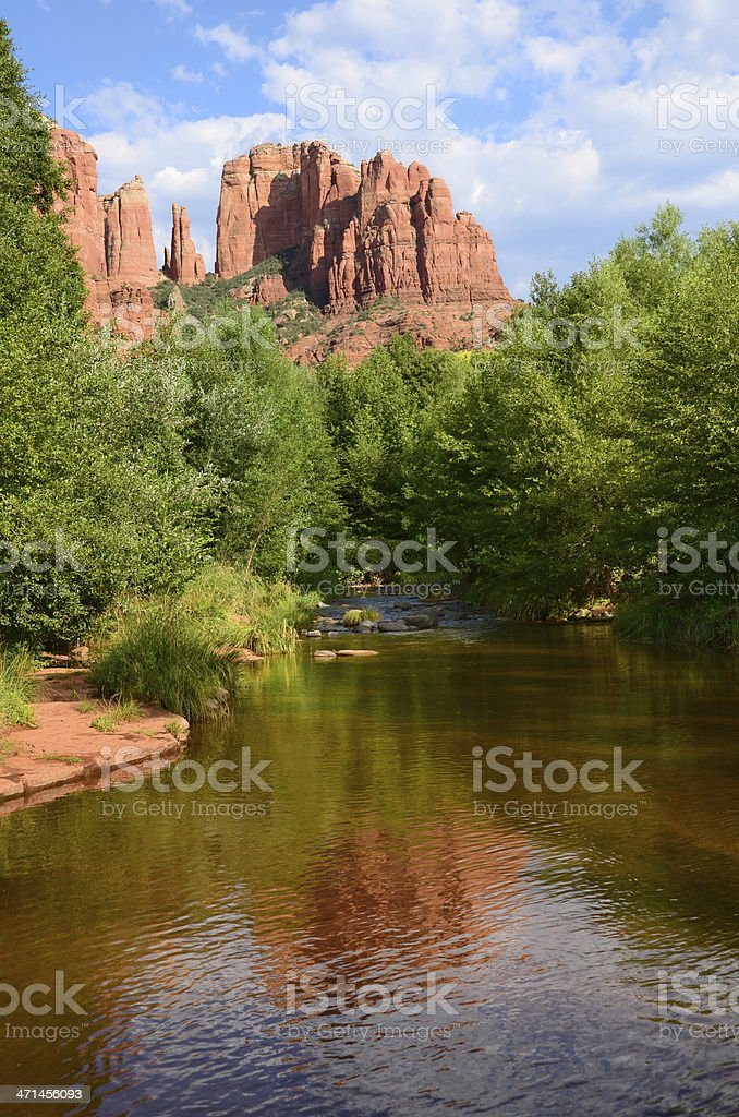 Cathedral Rock and Oak Creek stock photo