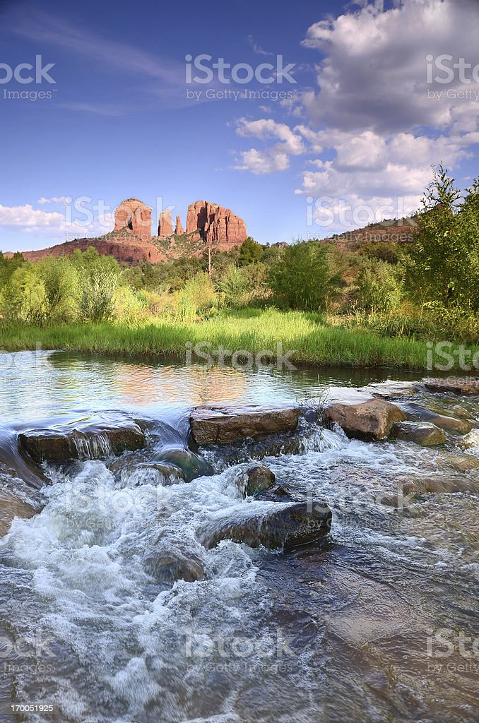 Cathedral Rock at Dusk stock photo