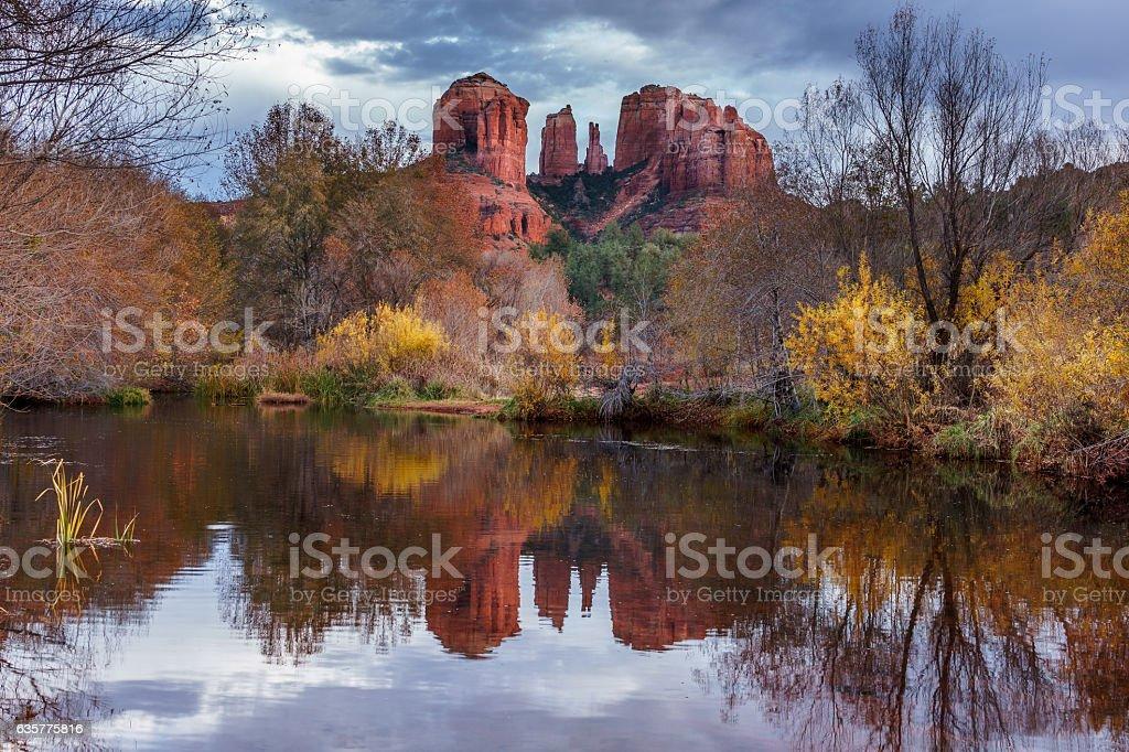Cathedral Rock at Sedona Arizona USA stock photo