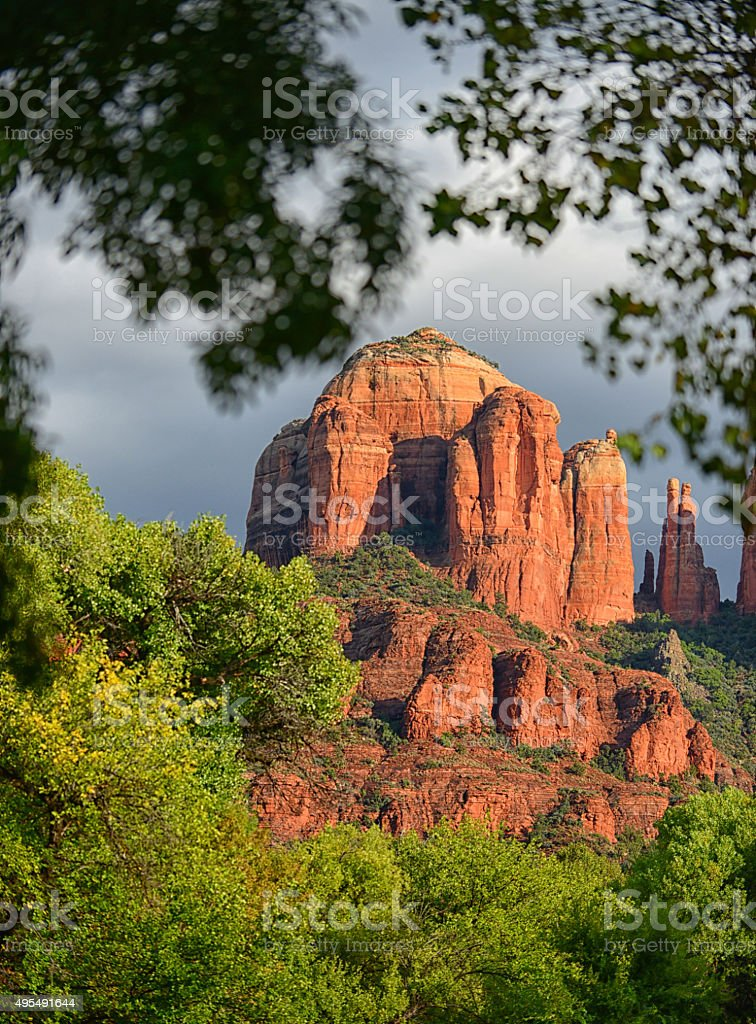 cathedral rock energy vortex in sedona stock photo