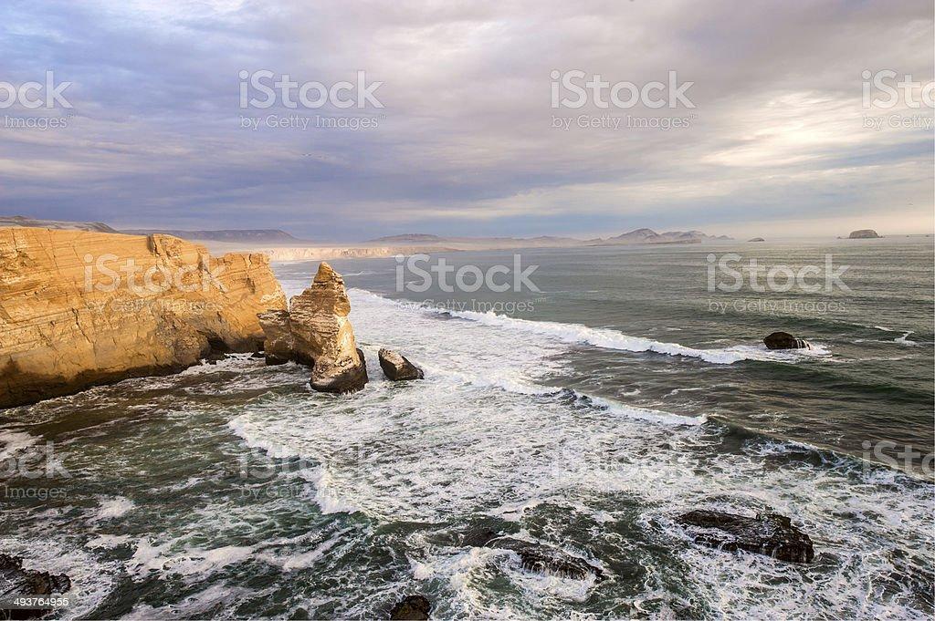 Cathedral Rock Formation, Paracas, Peruvian Coastline stock photo