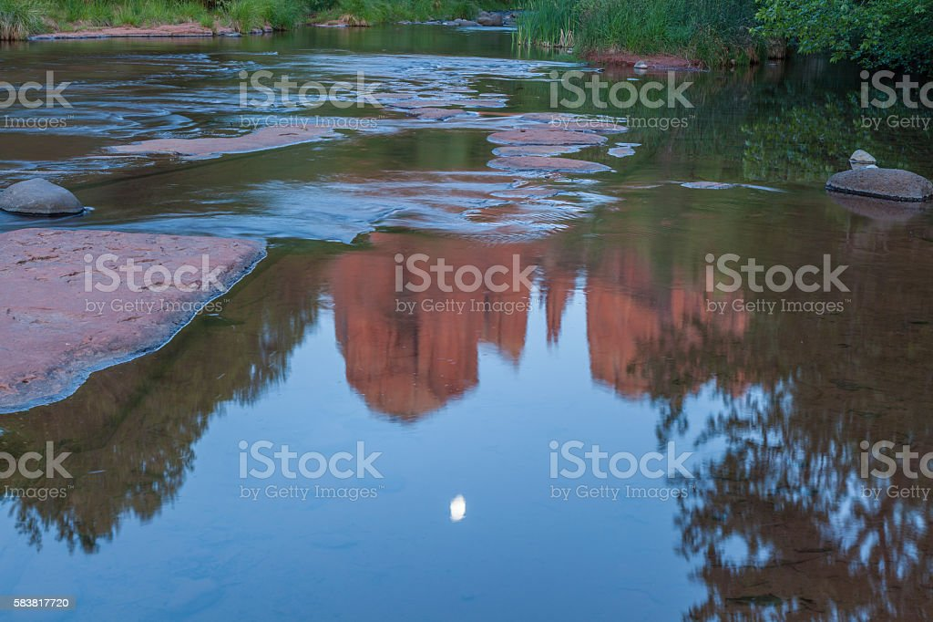 Cathedral Rock Moonrise Reflection stock photo