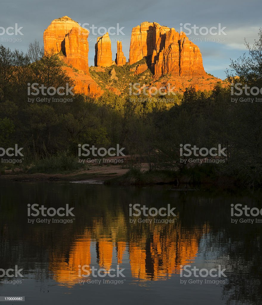 Cathedral Rock Oak Creek reflection at sunset, Sedona, Arizona stock photo
