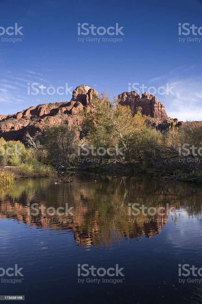 Cathedral Rock Reflected In Oak Creek stock photo