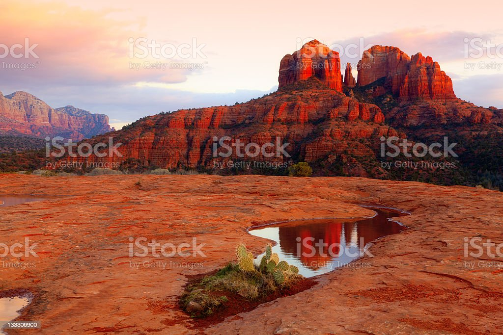 Cathedral Rock Reflection royalty-free stock photo