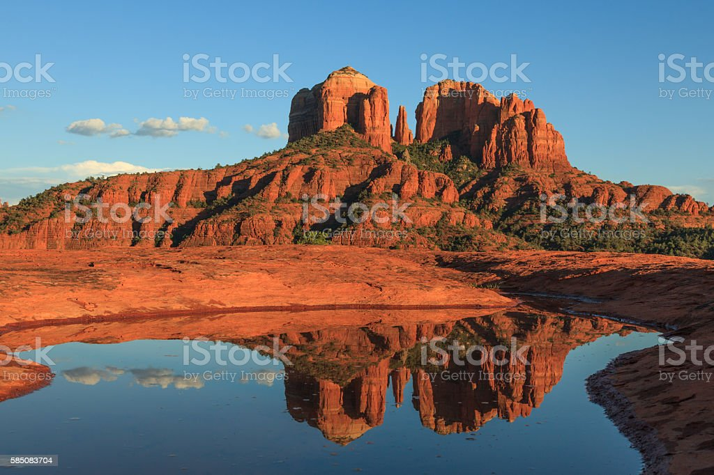 Cathedral rock Reflection stock photo