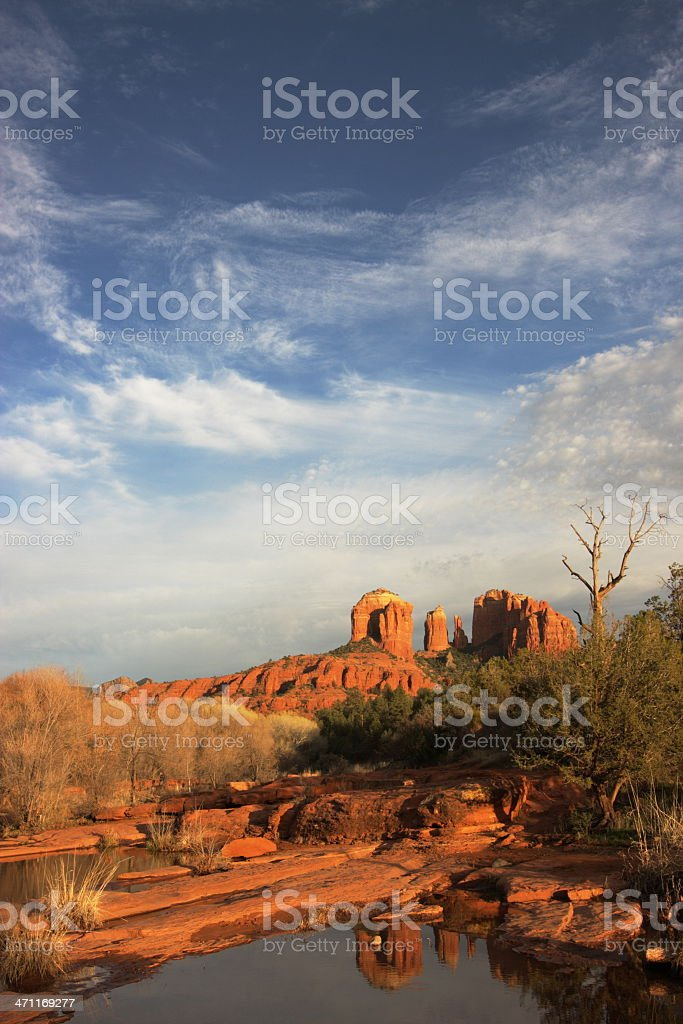Cathedral Rock Reflection Sedona Landscape stock photo