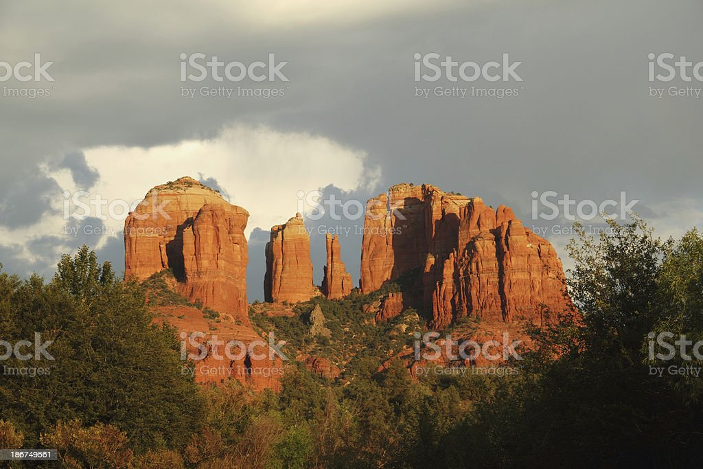 Cathedral Rock Sedona Dramatic Sky Arizona royalty-free stock photo