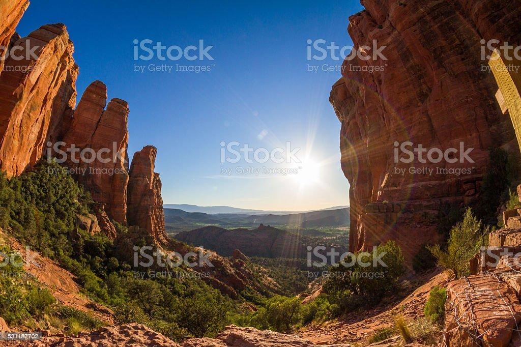 Cathedral Rock summit stock photo