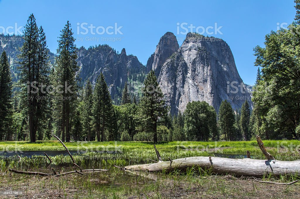 Cathedral Rocks and spires in Yosemite stock photo
