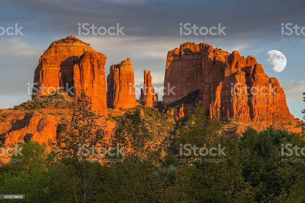Cathedral Rocks at Sunset with Moon stock photo