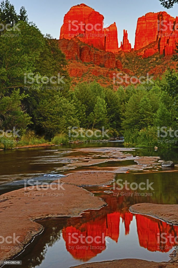 Cathedral Rocks with Reflection royalty-free stock photo