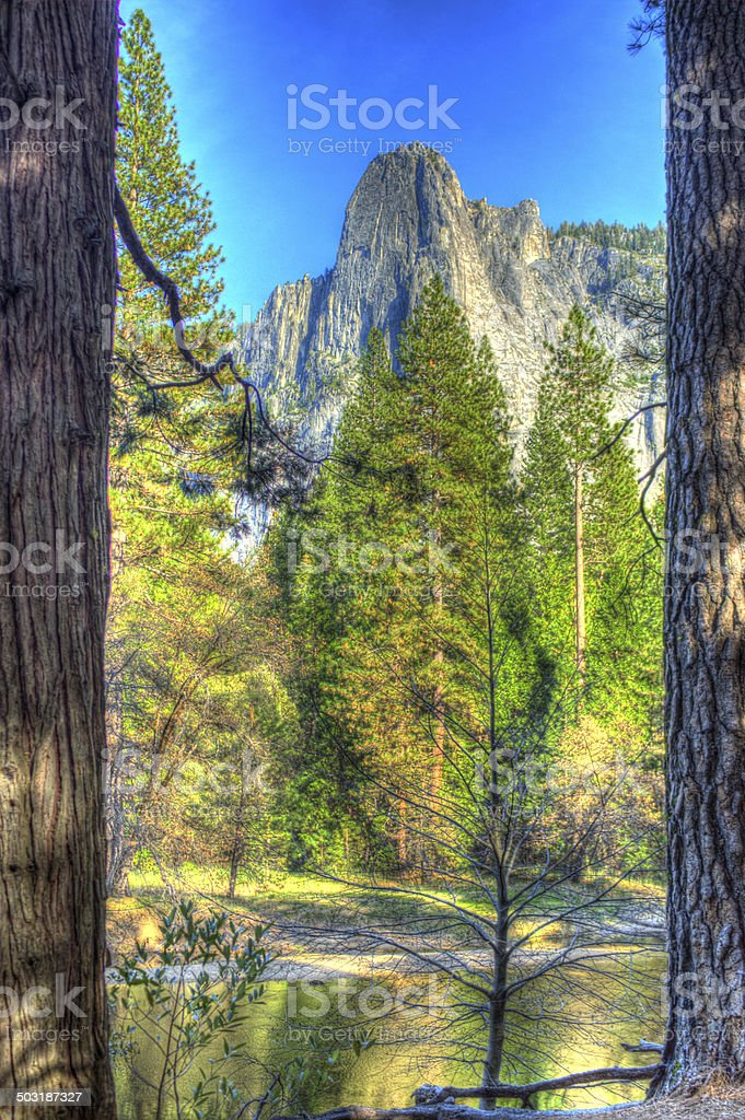 Cathedral rocks Yosemite viewed over the Merced River. stock photo