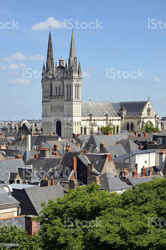 Cathedral Saint Maurice at Angers in France stock photo