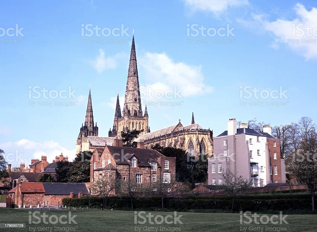 Cathedral spires, Lichfield, England. stock photo