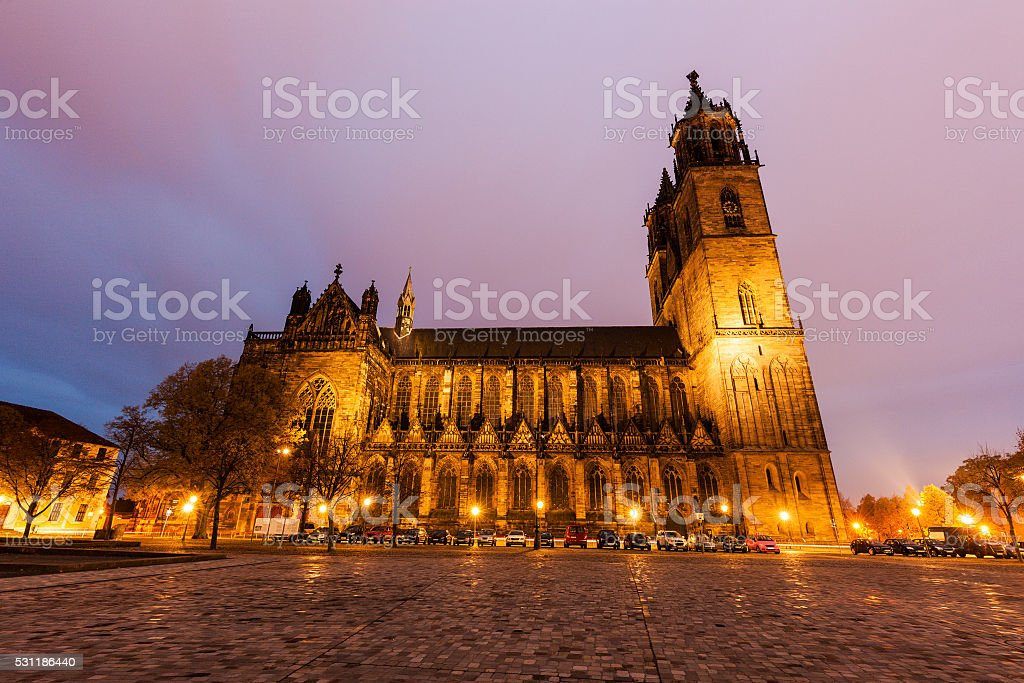 Domplatz in Magdeburg stock photo