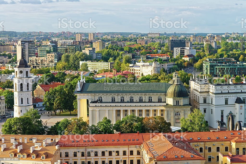 Cathedral Square in Vilnius in Lithuania stock photo