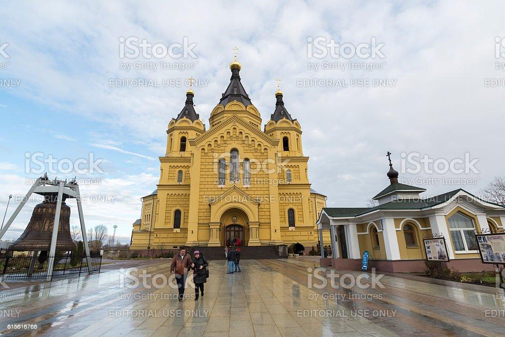 Cathedral  St. Alexander Nevsky and tourists stock photo